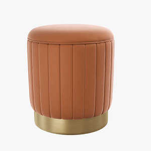 roche orange velvet stool 3D model