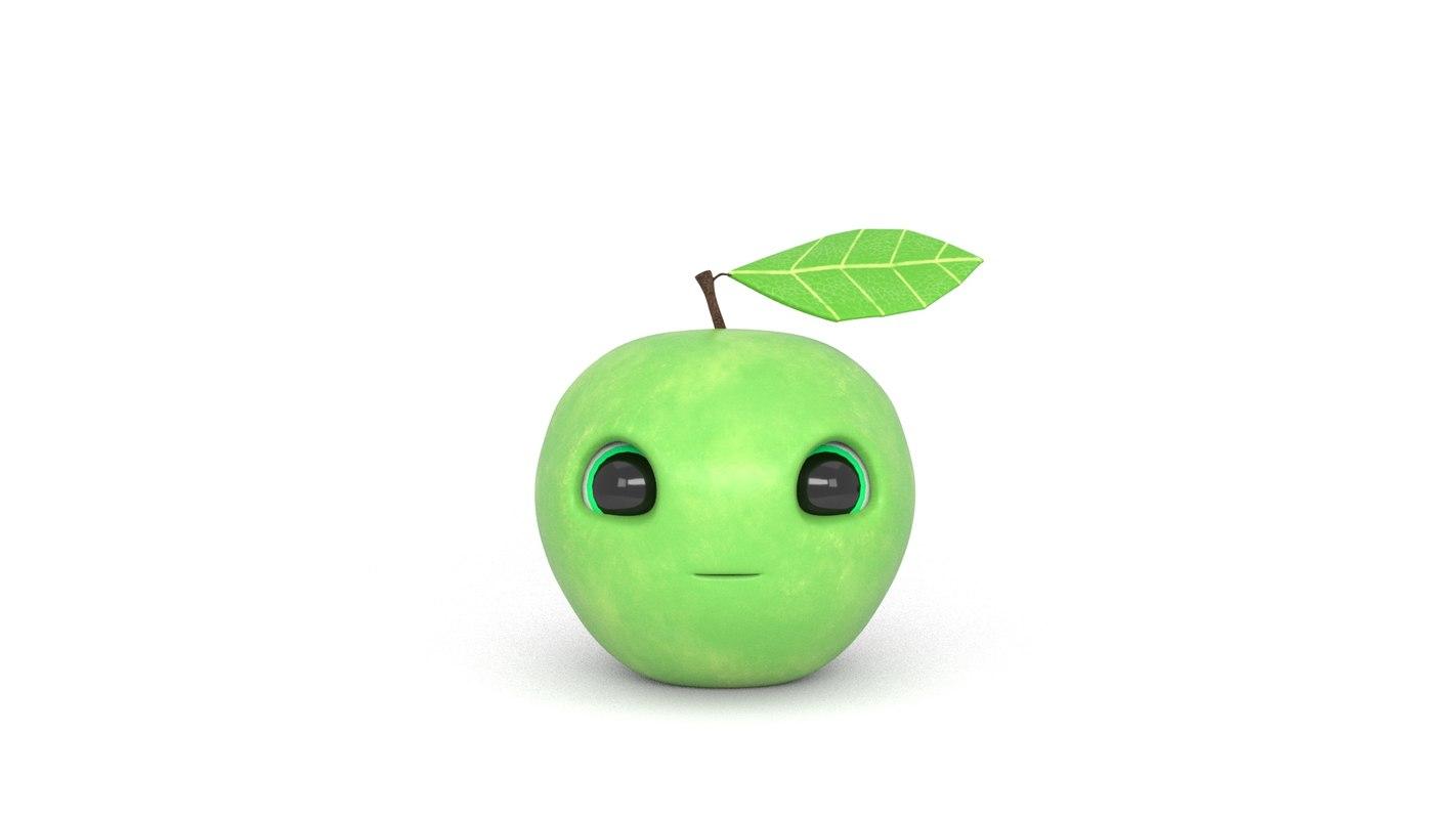 3D model green character rig