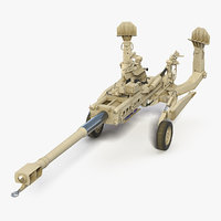 155mm m777 howitzer desert 3D model