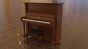 yamaha piano trumpet 3D model