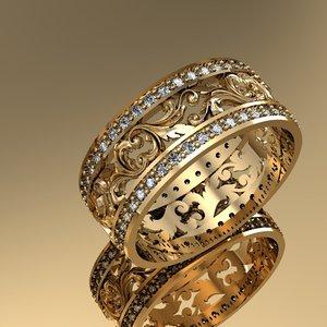 fashion wedding ring gems model