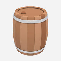 barrel cartoon 3D model