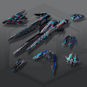 3D model alien spaceships