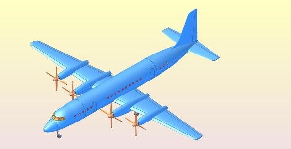illushyn il-18 aircraft solid 3D model