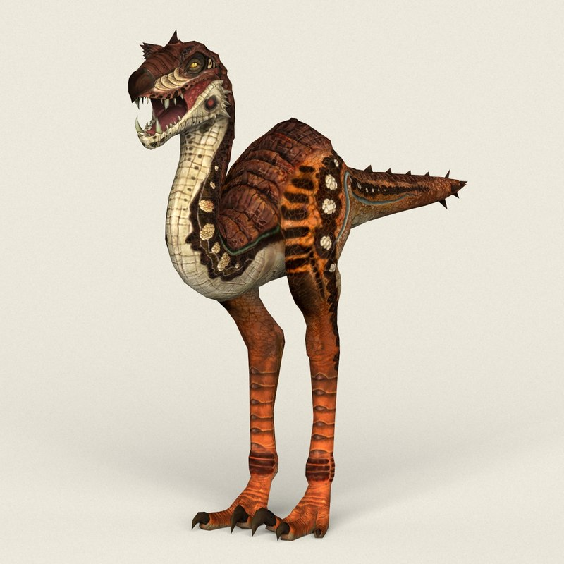 3D ready fantasy velociraptor model