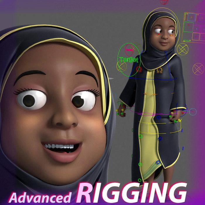 cartoon arab muslim black woman 3D model rigged turbosquid