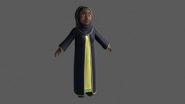 cartoon arab muslim woman rigged 3D model