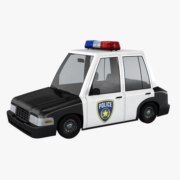 3D cartoon police car