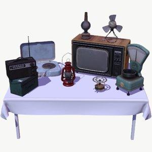 vintage props pack lamp 3D