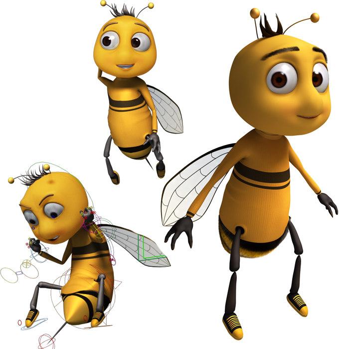 cartoon bee rigged model