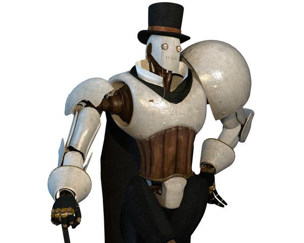 3D steampunk robot character model