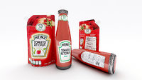3D ketchup bottle doypack heinz model