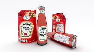 3D ketchup bottle doypack heinz model