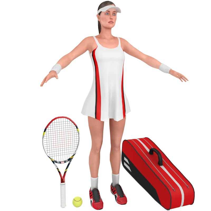 female tennis player racket 3D model
