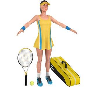 3D female tennis player racket