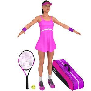 female tennis player racket 3D