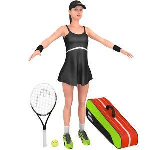 female tennis player 3D model