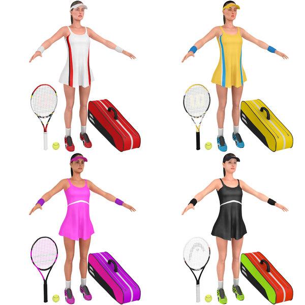 3D pack female tennis player