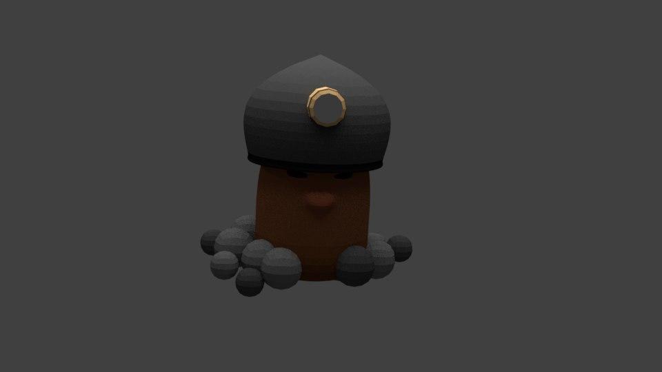 3D model miner blender