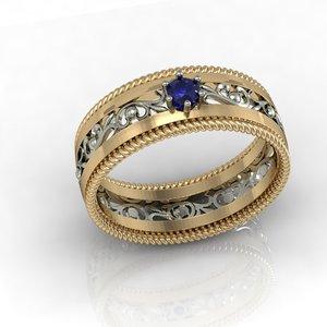 3D wedding ring gem