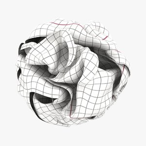 3D graph paper ball white model