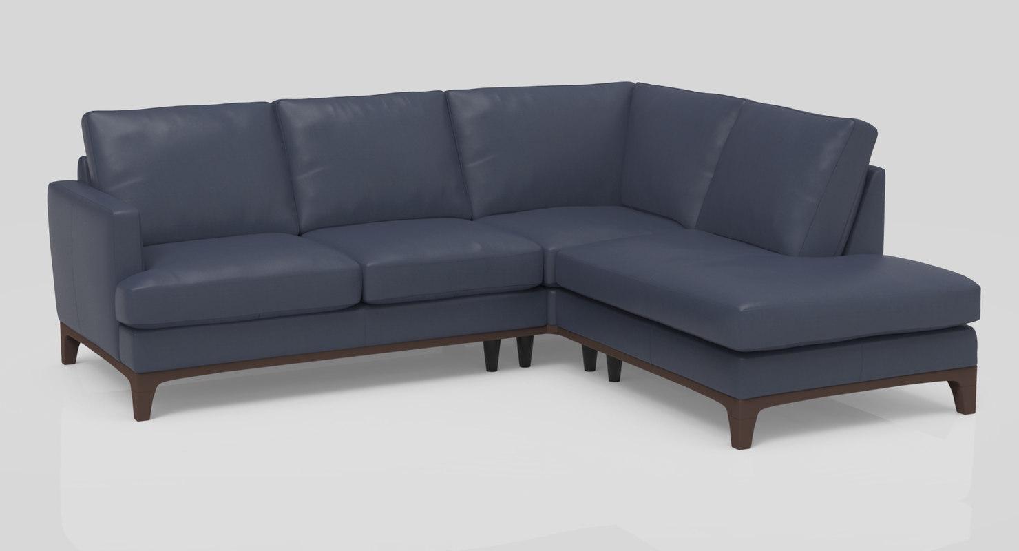 3d Nostalgia Compact Chaise Sectional Sofa Turbosquid