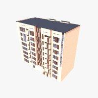 3D model modern apartment building