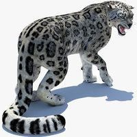 snow leopard 2 rigged 3D model