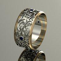 wedding ring flowers gems model