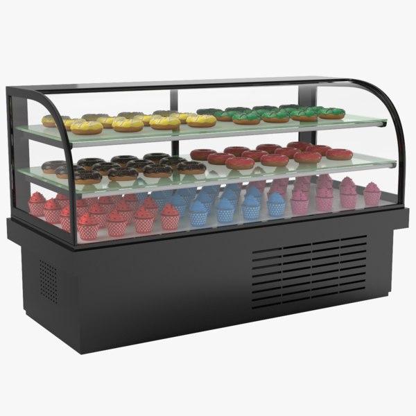 dessert display refrigerator donuts 3D model