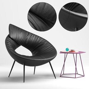 3D model lock armchair seat