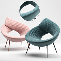 3D model lock armchair seat