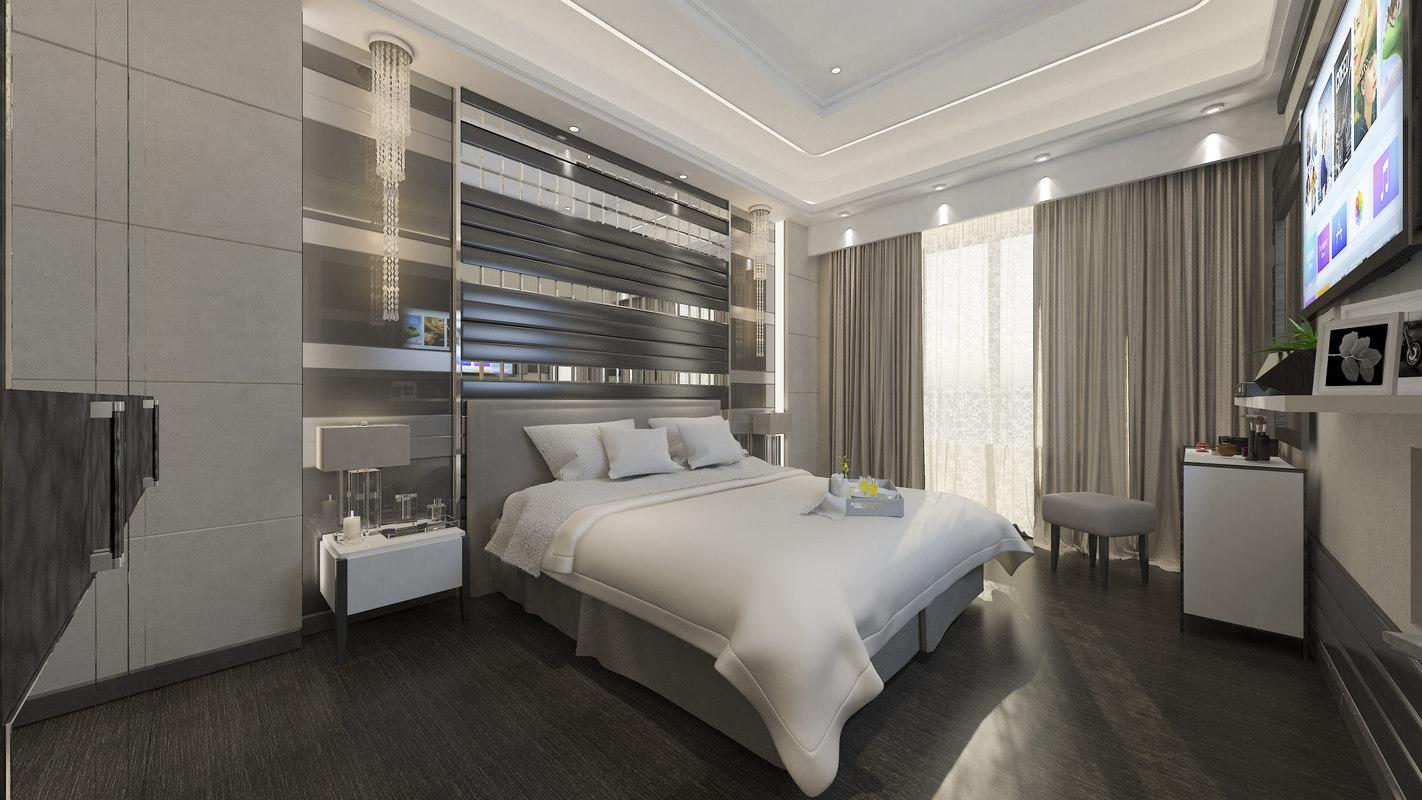 premium bedroom interior scene 3D model