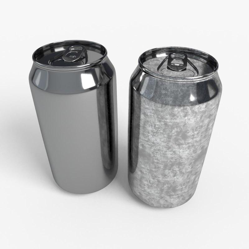 3D 330ml beverage open crushed model
