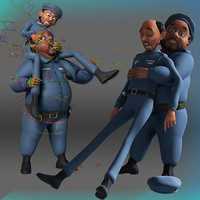 cartoon police men 3D model