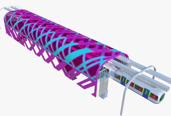 monorail train station 3D model