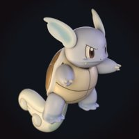3D model wartortle pokemon