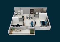 3D floor plan Apartment F2