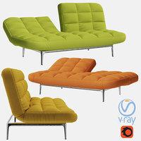 folding sofa couch 3D model