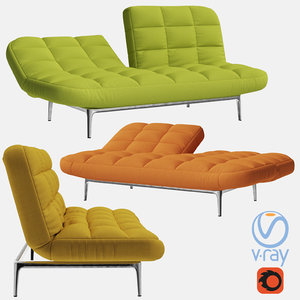 folding sofa couch 3D model