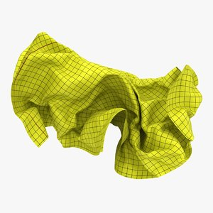 crumpled graph paper white 3D