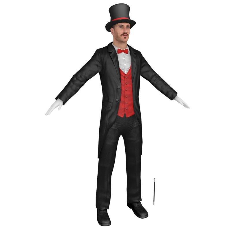 3D model magician body head