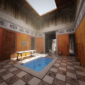 3D interior greek villa