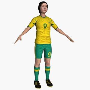3D model female soccer football player