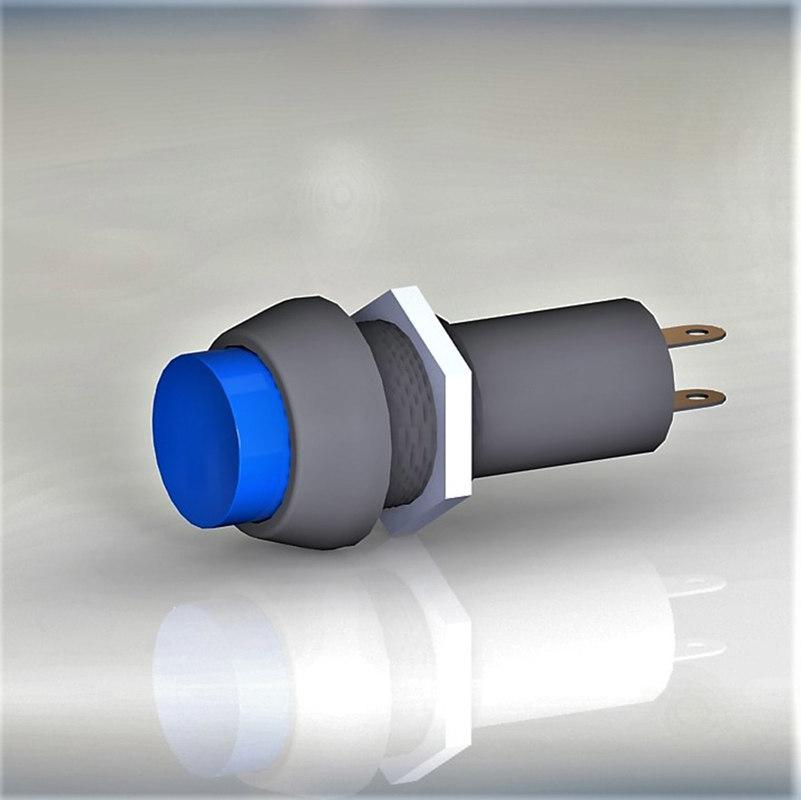 button switch blue 3D
