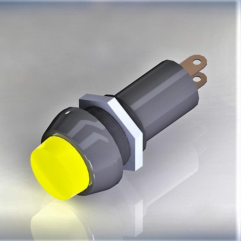 3D signal bulb 10 yellow model