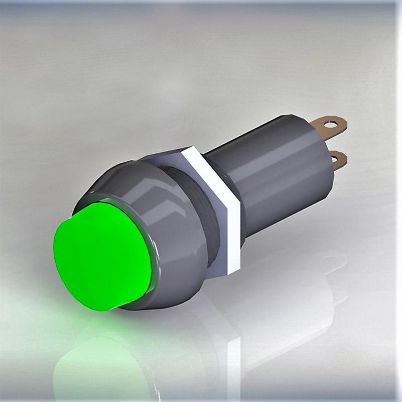 3D signal bulb 10 green