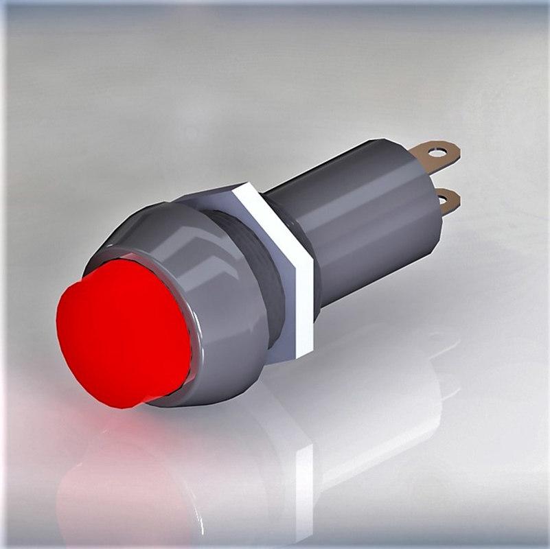 3D model signal bulb 10 red