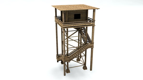 3D wood watch tower model