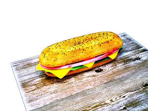 3D appetizing sandwich